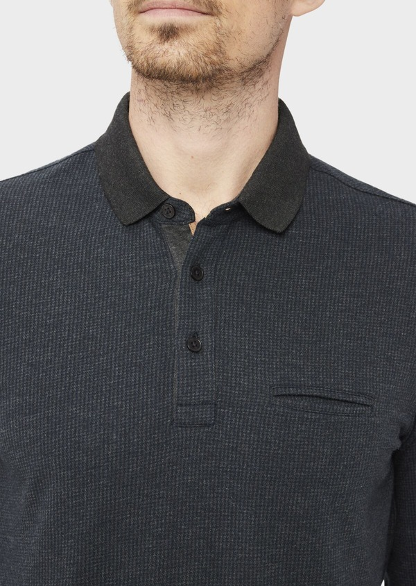 Polo manches longues Slim en coton jersey uni gris chiné et bleu marine - Father and Sons 37037