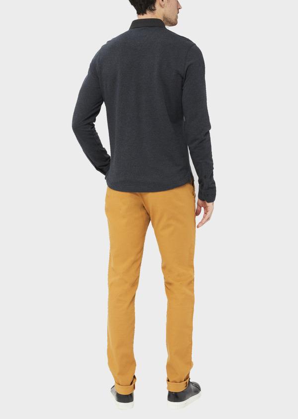 Polo manches longues Slim en coton jersey uni gris chiné et bleu marine - Father and Sons 37036