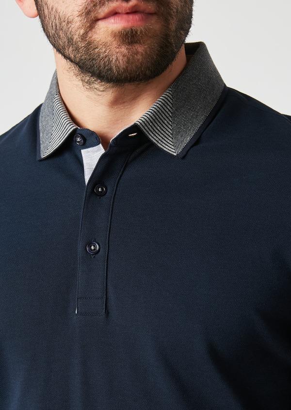 Polo manches longues Slim en coton uni bleu indigo - Father and Sons 28073