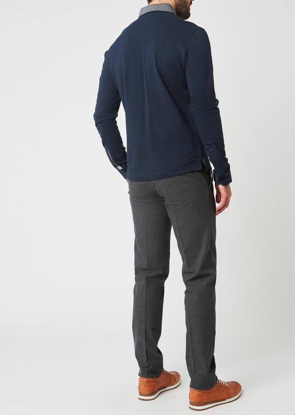 Polo manches longues Slim en coton uni bleu indigo - Father and Sons 28072
