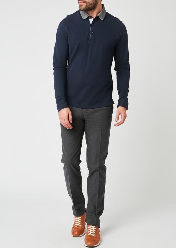 Polo manches longues Slim en coton uni bleu indigo - Father and Sons 28071