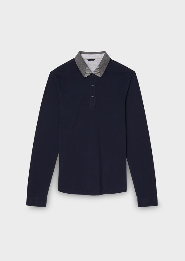 Polo manches longues Slim en coton uni bleu indigo - Father and Sons 28069