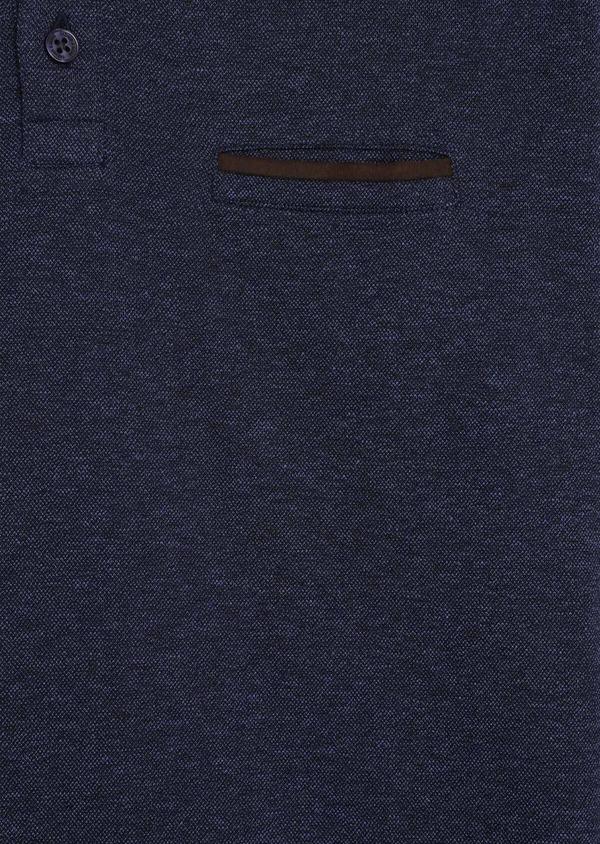 Polo manches longues Slim en coton uni bleu indigo - Father and Sons 36156