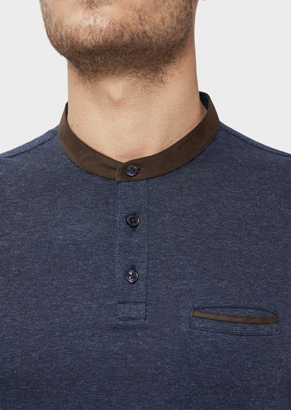 Polo manches longues Slim en coton uni bleu indigo - Father and Sons 36159