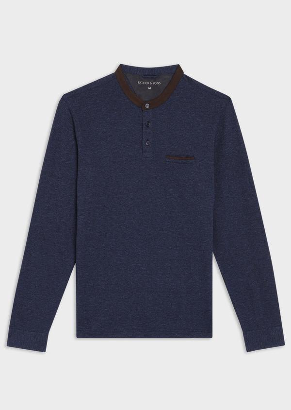 Polo manches longues Slim en coton uni bleu indigo - Father and Sons 36155