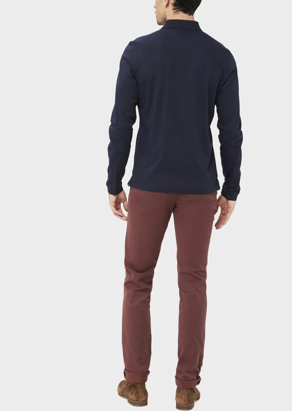 Polo manches longues Slim en coton uni bleu indigo - Father and Sons 37041