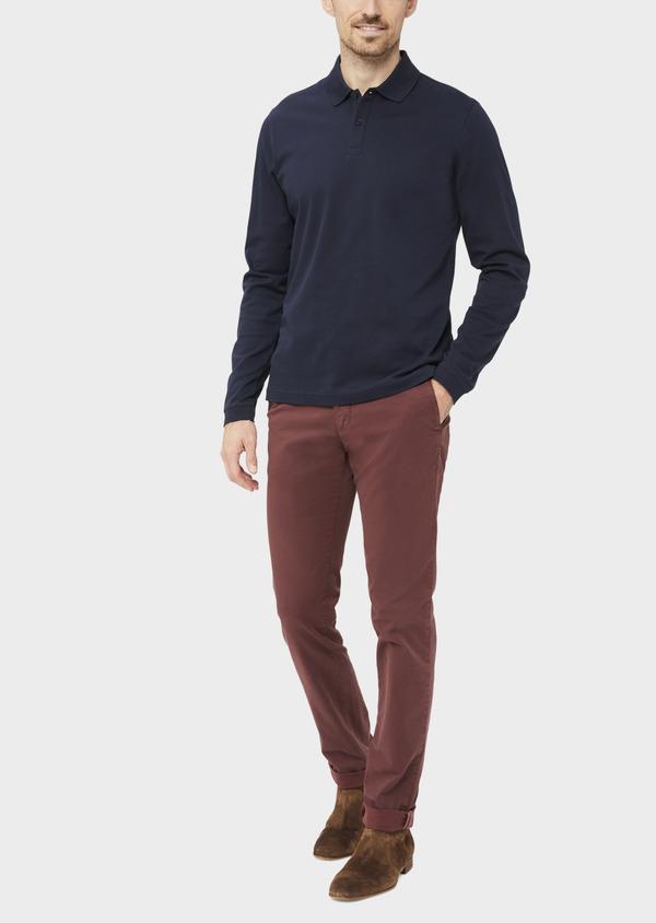 Polo manches longues Slim en coton uni bleu indigo - Father and Sons 37040