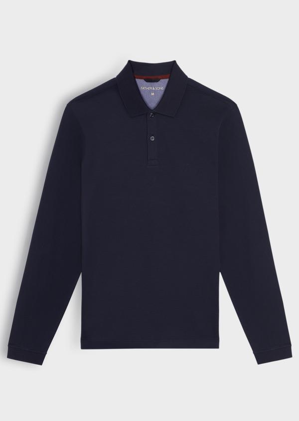 Polo manches longues Slim en coton uni bleu indigo - Father and Sons 37038