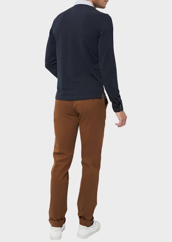 Polo manches longues Slim en coton uni bleu marine - Father and Sons 36410