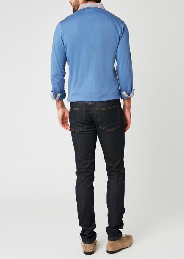 Polo manches longues Slim en coton uni bleu - Father and Sons 20226