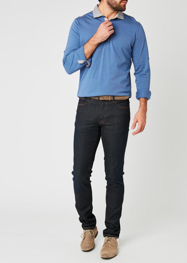 Polo manches longues Slim en coton uni bleu - Father and Sons 20225