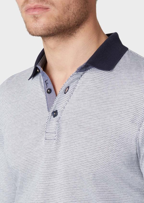Polo manches longues Slim en coton bleu indigo à motif fantaisie - Father and Sons 34039