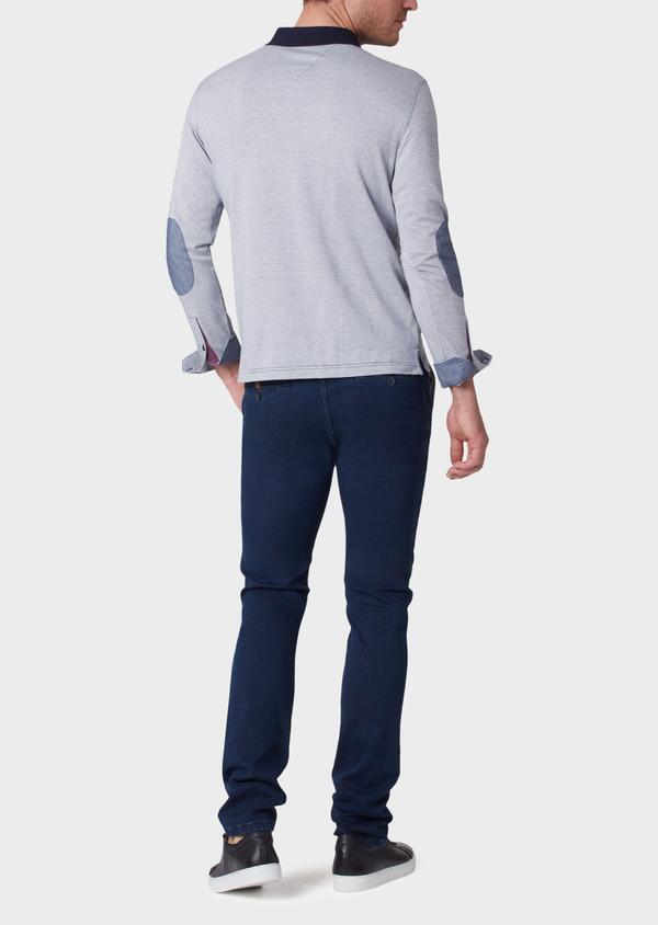 Polo manches longues Slim en coton bleu indigo à motif fantaisie - Father and Sons 34038