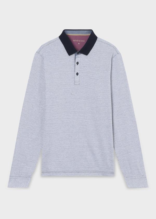 Polo manches longues Slim en coton bleu indigo à motif fantaisie - Father and Sons 34035