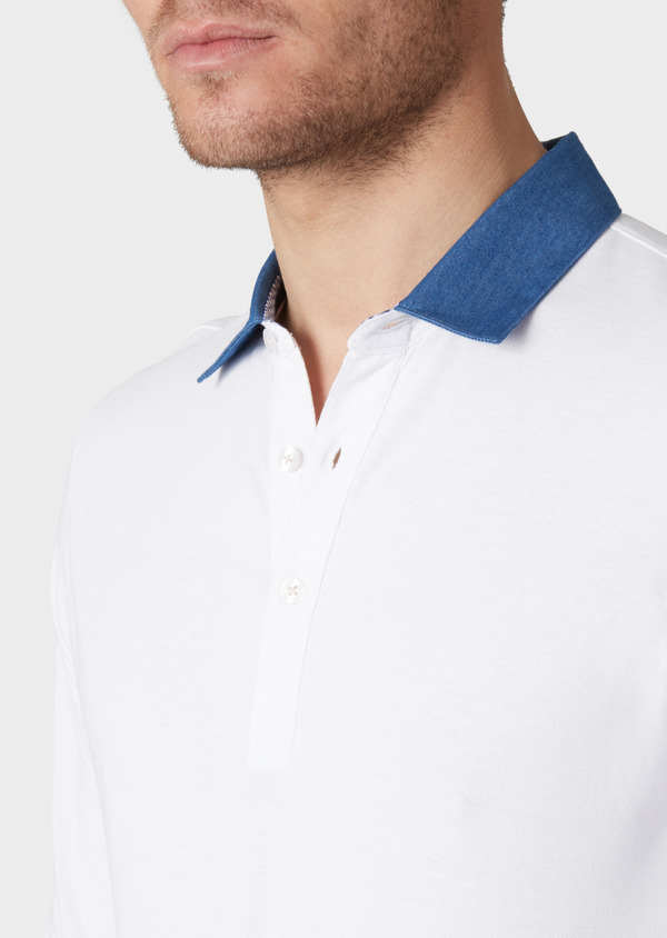 Polo manches longues Slim en coton uni blanc - Father and Sons 34173