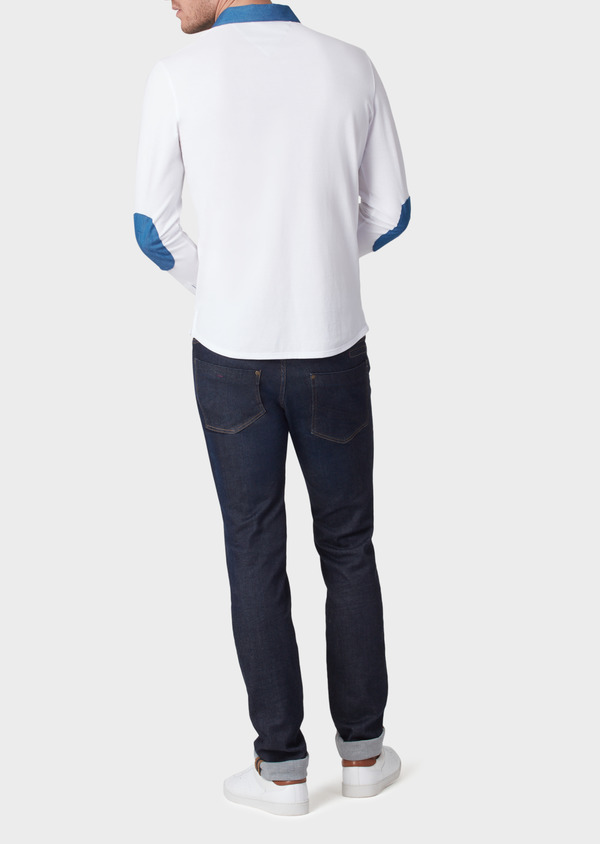 Polo manches longues Slim en coton uni blanc - Father and Sons 34172