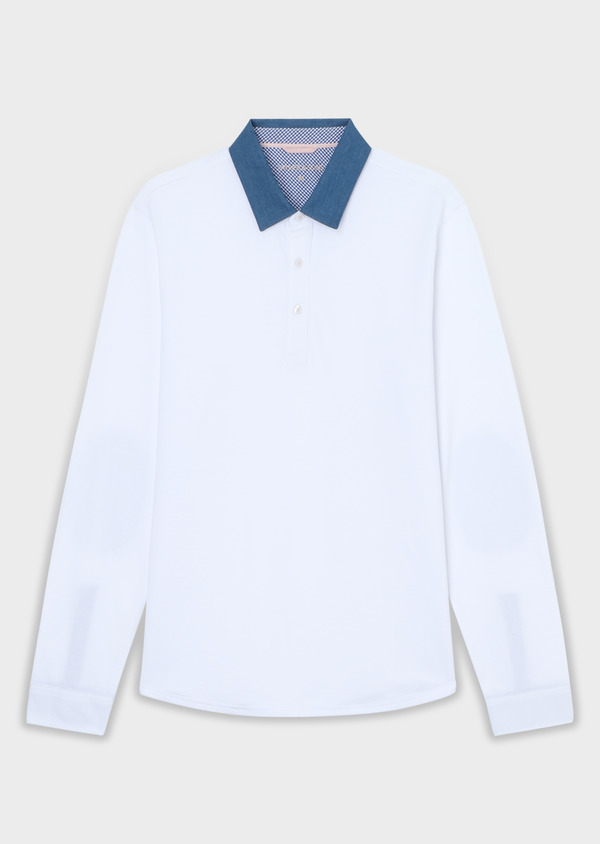 Polo manches longues Slim en coton uni blanc - Father and Sons 34169