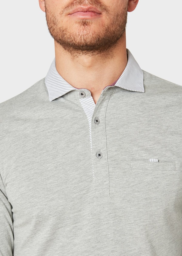 Polo manches longues Slim en coton uni gris clair - Father and Sons 33471