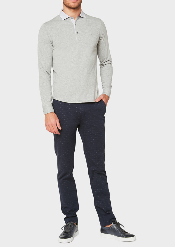 Polo manches longues Slim en coton uni gris clair - Father and Sons 33469