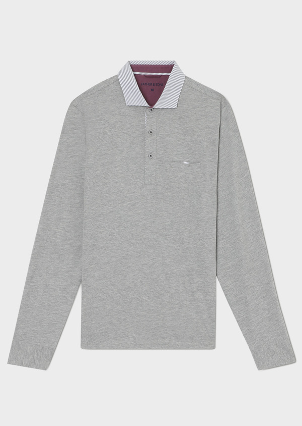 Polo manches longues Slim en coton uni gris clair - Father and Sons 33467