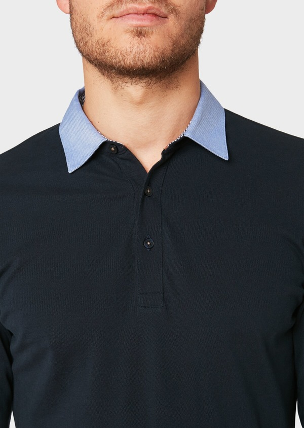 Polo manches longues Slim en coton uni bleu marine - Father and Sons 33466