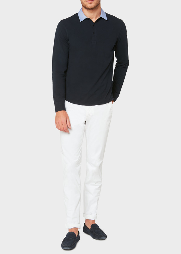 Polo manches longues Slim en coton uni bleu marine - Father and Sons 33464