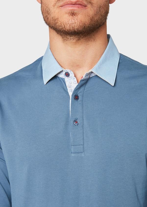 Polo manches longues Slim en coton uni bleu - Father and Sons 33457
