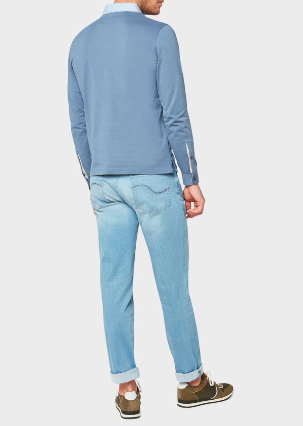 Polo manches longues Slim en coton uni bleu - Father and Sons 33456