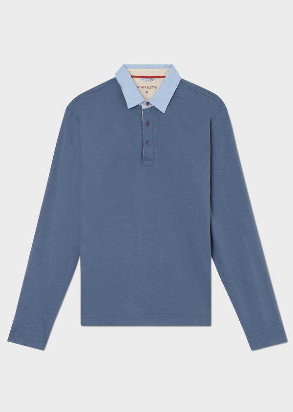 Polo manches longues Slim en coton uni bleu - Father and Sons 33453