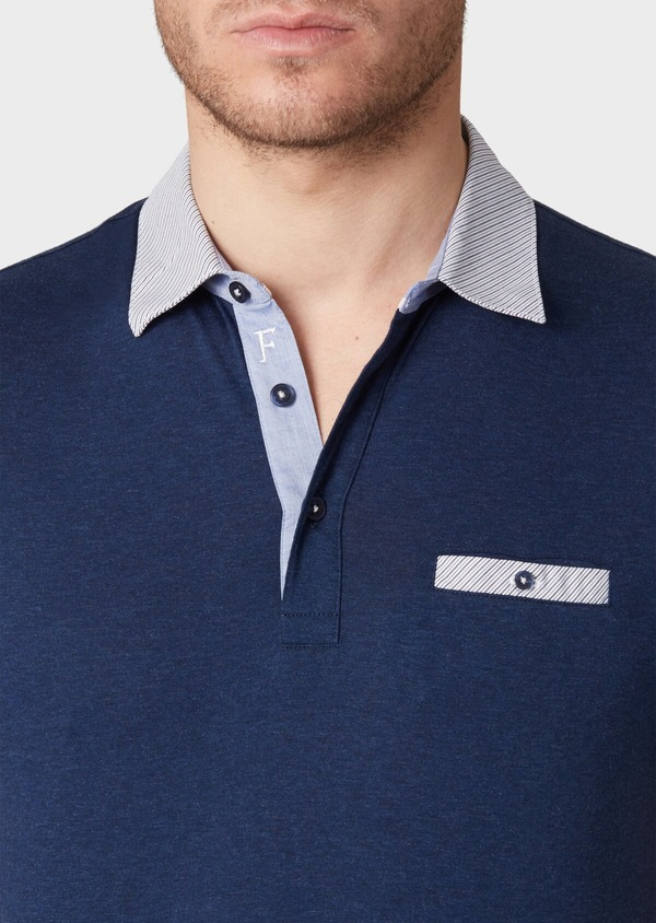 Polo manches courtes Slim en coton bleu indigo motif fantaisie - Father and Sons 34014