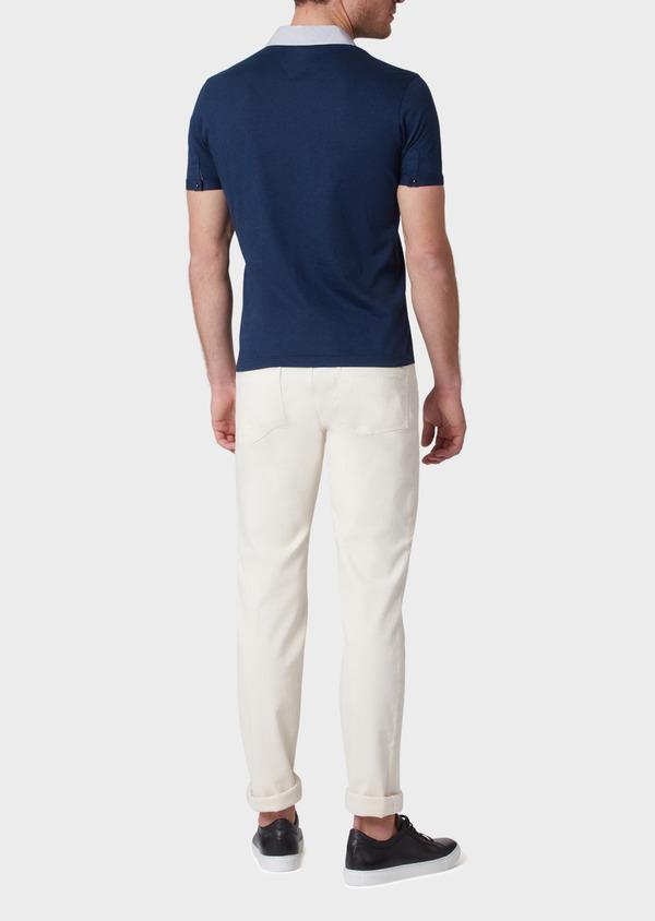 Polo manches courtes Slim en coton bleu indigo motif fantaisie - Father and Sons 34013