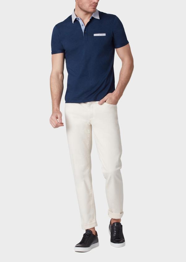 Polo manches courtes Slim en coton bleu indigo motif fantaisie - Father and Sons 34012