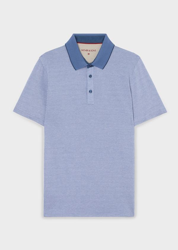 Polo manches courtes Slim en coton bleu à motif fantaisie - Father and Sons 33451
