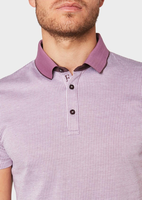 Polo manches courtes Slim en coton violet à motif fantaisie - Father and Sons 34024