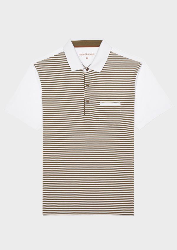 Polo manches courtes Slim en coton vert clair kaki à rayures - Father and Sons 33422