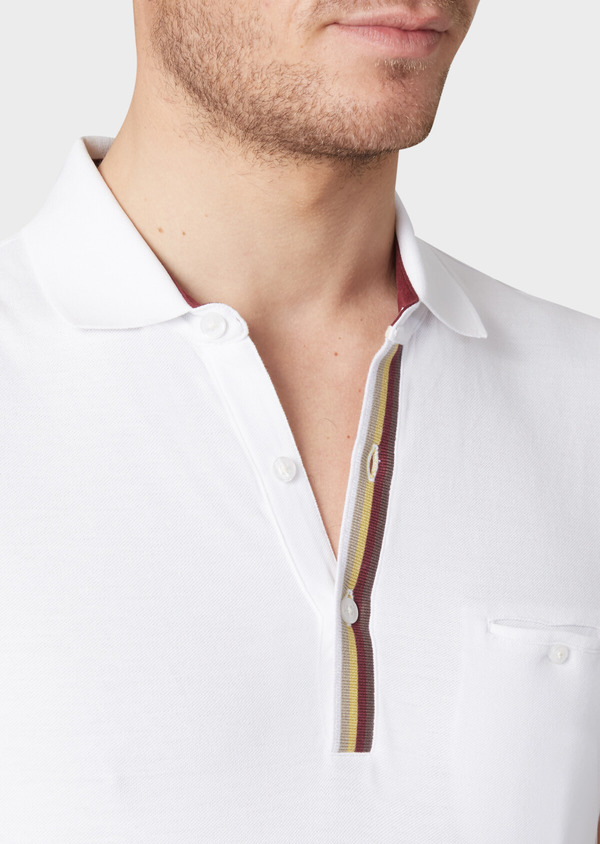 Polo manches courtes Slim en coton uni blanc - Father and Sons 33965