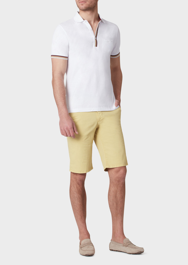 Polo manches courtes Slim en coton uni blanc - Father and Sons 33963