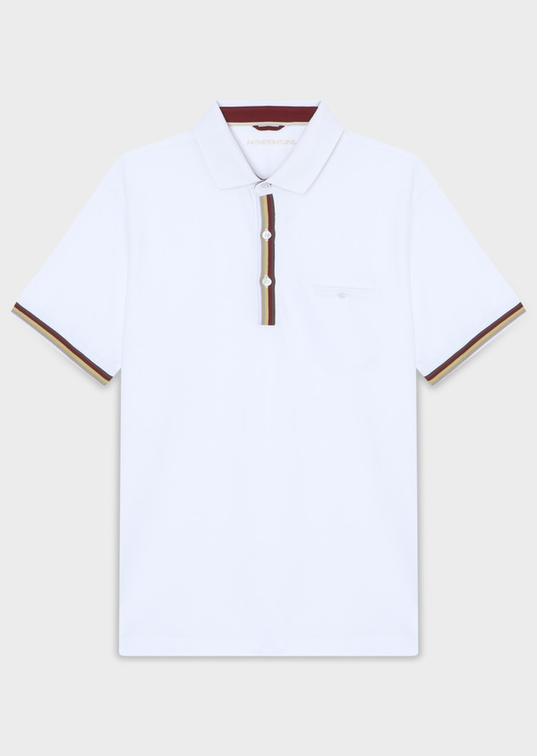 Polo manches courtes Slim en coton uni blanc - Father and Sons 33961