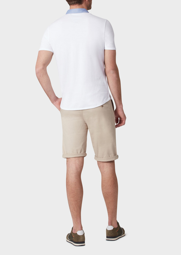 Polo manches courtes Slim en coton blanc - Father and Sons 33974