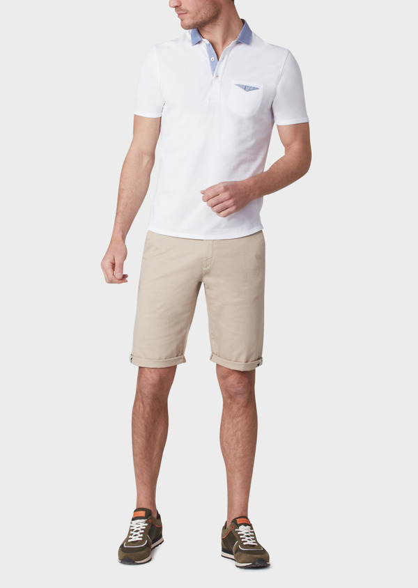 Polo manches courtes Slim en coton blanc - Father and Sons 33973