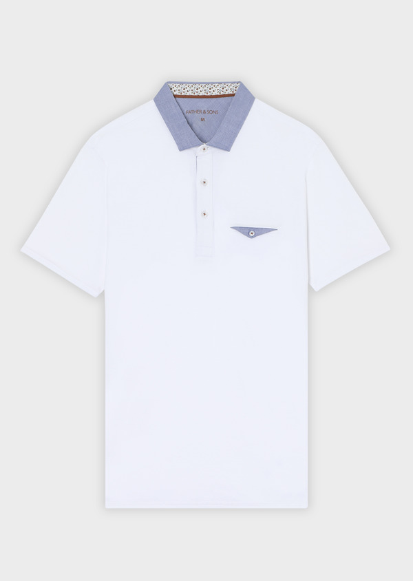 Polo manches courtes Slim en coton blanc - Father and Sons 33971