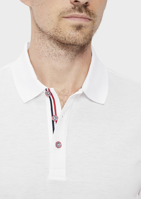 Polo manches courtes Slim en coton uni blanc - Father and Sons 34495