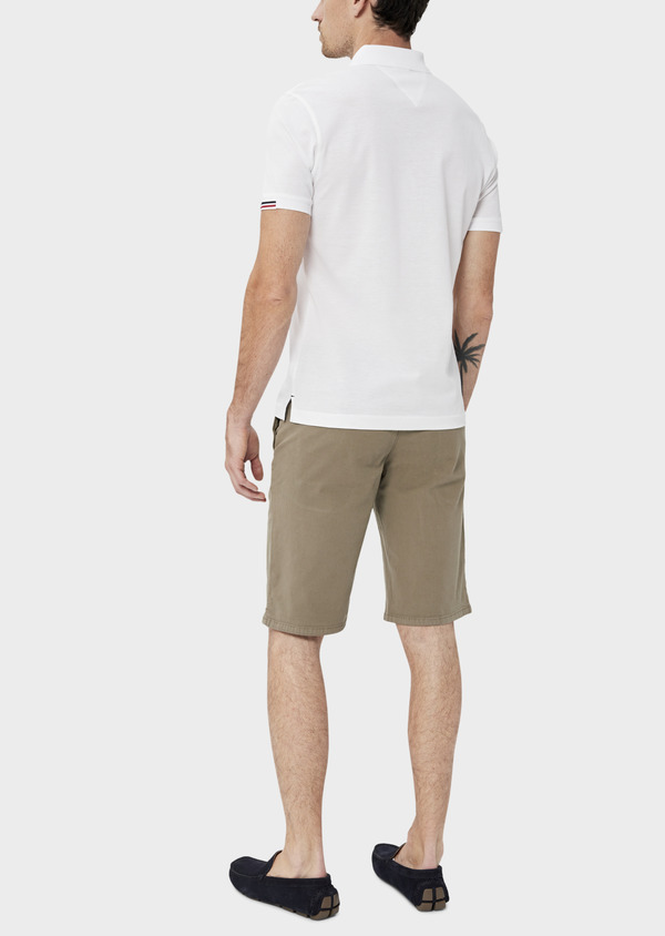 Polo manches courtes Slim en coton uni blanc - Father and Sons 34494