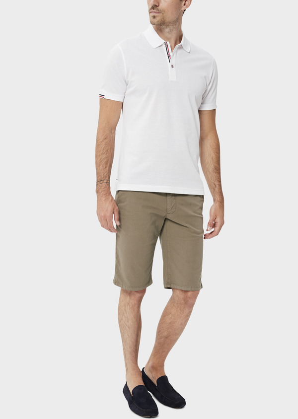 Polo manches courtes Slim en coton uni blanc - Father and Sons 34493
