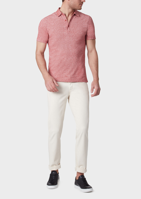 Polo manches courtes Slim en coton uni rouge chiné - Father and Sons 33993