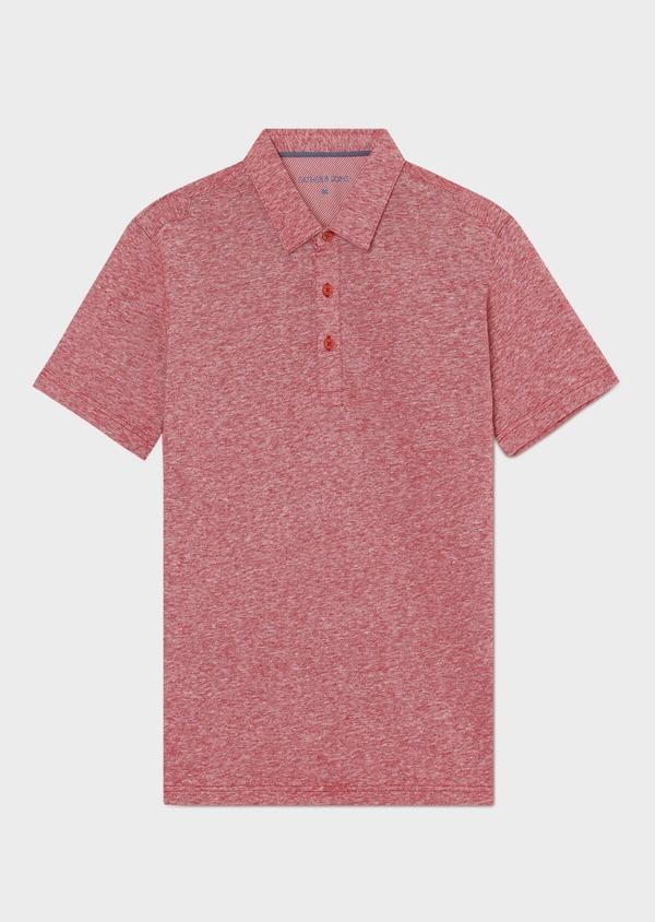 Polo manches courtes Slim en coton uni rouge chiné - Father and Sons 33991