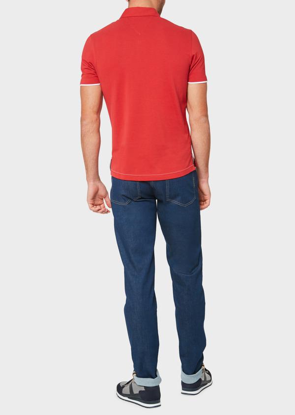 Polo manches courtes Slim en coton uni rouge - Father and Sons 33432