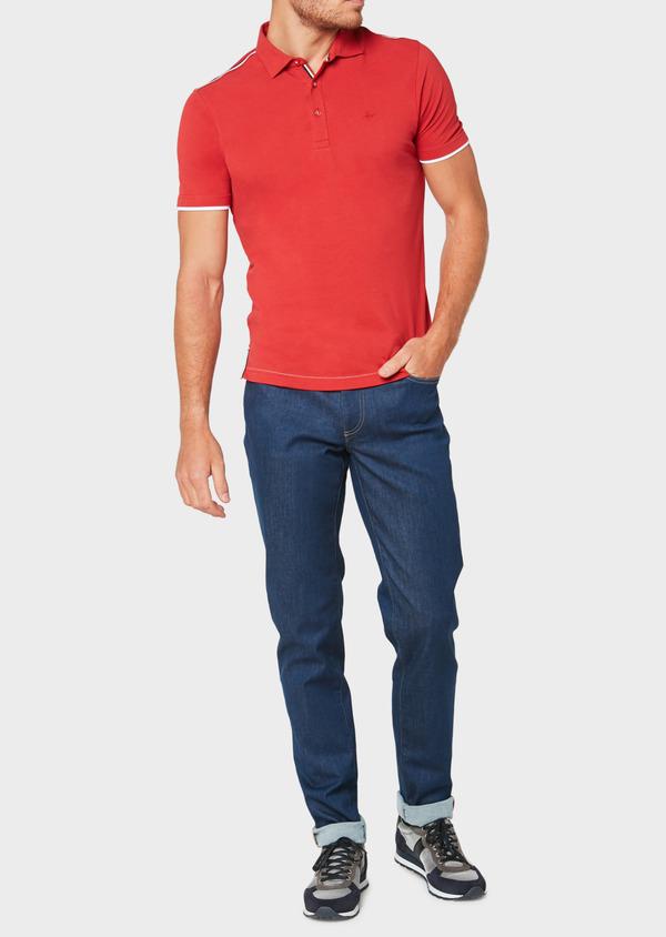 Polo manches courtes Slim en coton uni rouge - Father and Sons 33431
