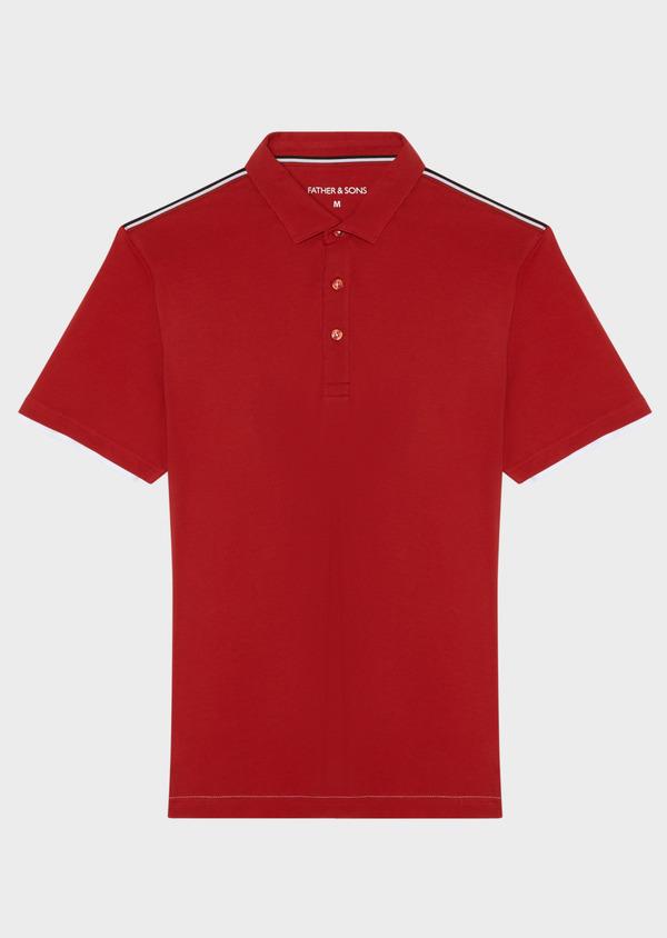 Polo manches courtes Slim en coton uni rouge - Father and Sons 33429