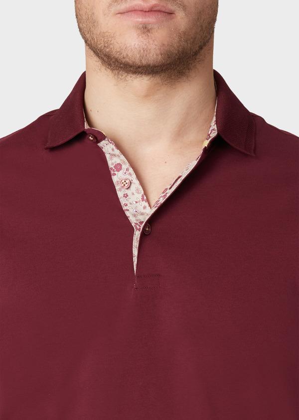 Polo manches courtes Slim en coton uni rouge foncé - Father and Sons 33985
